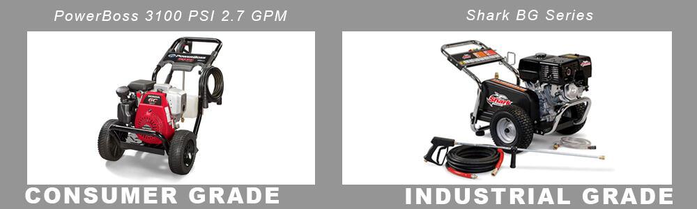 consumer grade vs industrial grade pressure washers