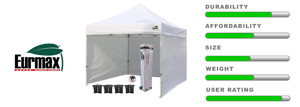 eurmax pop up commercial tent with sidewalls 10x10