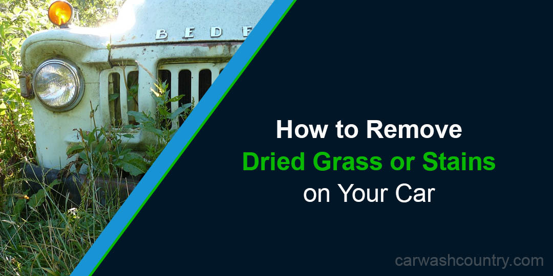 how to remove dried grass clippings on car